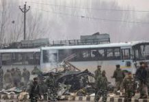 Image of the bus after the blast which was carrying the 76th Battalion